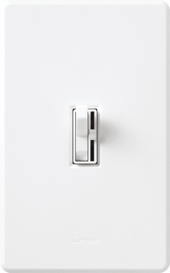 Lutron AYCL-153P-WH Lutron AYCL-153P-WH Ariadni® C. L™ Single Pole 3-Way Slide Dimmer with Toggle Switch; 120 Volt AC, 150 Watt, CFL/LED/Incandescent/Halogen, White