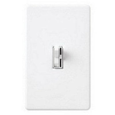 Lutron AYCL-153PH-WH Lutron AYCL-153PH-WH Ariadni® C. L™ Single Pole 3-Way Slide Dimmer with Toggle Switch; 120 Volt AC, 150 Watt, CFL/LED/Incandescent/Halogen, White