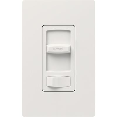 Lutron CTCL-153P-WH Lutron CTCL-153P-WH Skylark Contour® C.L™ Single Pole 3-Way Preset Slide Dimmer with Toggle Switch; 120 Volt AC, 600/150 Watt, CFL/LED/Incandescent/Halogen, White