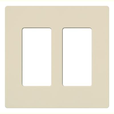 Lutron CW-2-LA Lutron CW-2-LA Designer Claro® 2-Gang Screwless Decorator Wallplate; Wall Mount, Plastic, Light Almond