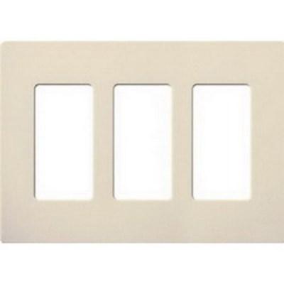 Lutron CW-3-LA Lutron CW-3-LA Designer Claro® 3-Gang Screwless Decorator Wallplate; Device Mount, Plastic, Light Almond