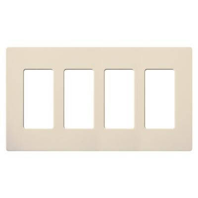 Lutron CW-4-LA Lutron CW-4-LA Designer Claro® 4-Gang Screwless Decorator Wallplate; Wall Mount, Plastic, Light Almond