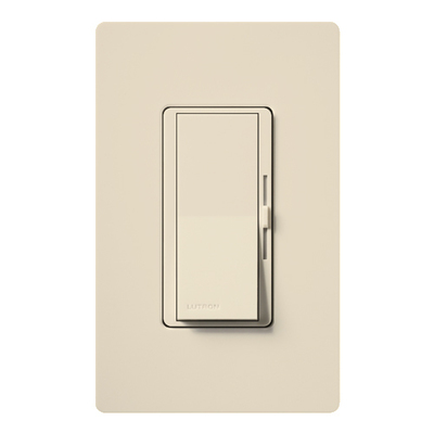 Lutron DV-103P-LA Lutron DV-103P-LA Diva® Single Pole 3-Way Preset Slide Dimmer with Paddle On/Off Switch; 120 Volt AC, 1000 Watt, Incandescent/Halogen, Light Almond