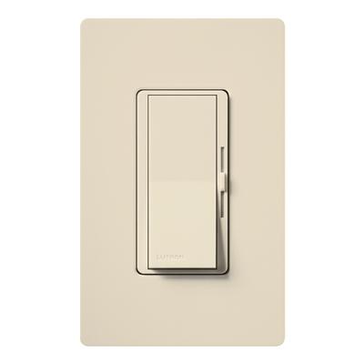 Lutron DV-600P-LA Lutron DV-600P-LA Diva® Single Pole Preset Slide Dimmer with Paddle On/Off Switch; 120 Volt AC, 600 Watt, Incandescent/Halogen, Light Almond