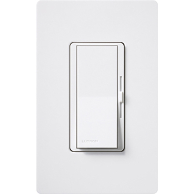 Lutron DVF-103P-277-WH Lutron DVF-103P-277-WH Diva® Single Pole 3-Way Preset Slide Dimmer with Paddle On/Off Switch; 277 Volt AC, 1000 Watt, 6 Amp, Fluorescent, White