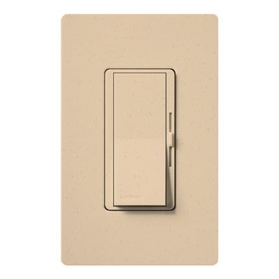 Lutron DVSC-600P-DS Lutron DVSC-600P-DS Diva® Single Pole Preset Slide Dimmer with Paddle On/Off Switch; 120 Volt AC, 600 Watt, Incandescent/Halogen, Desert Stone