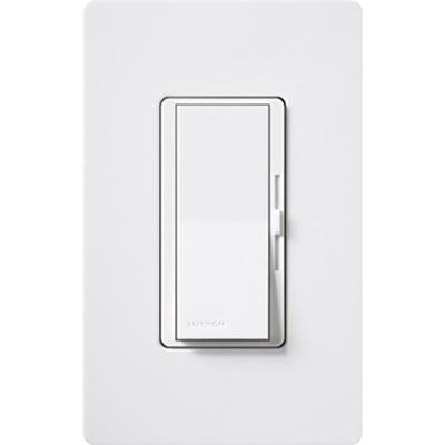 Lutron DVTV-WH Lutron DVTV-WH Diva® Single Pole Preset Slide Dimmer with Paddle On/Off Switch; 0 - 10 Volt DC, Fluorescent/LED, White
