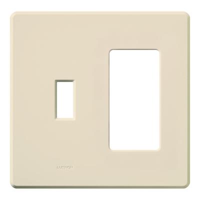 Lutron FG-2-TD-LA Lutron FG-2-TD-LA Fassada® 2-Gang Combination Wallplate; Stainless Steel, Light Almond, Wall Mount