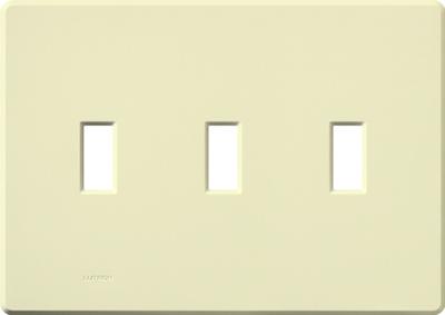 Lutron FG-3-AL Lutron FG-3-AL Fassada® 3-Gang Wallplate; Plastic, Almond, Wall Mount