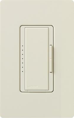 Lutron MA-1000-LA Lutron MA-1000-LA Maestro® Single Pole Digital Tap On/Off Fade Dimmer Switch; 120 Volt AC, 1000 Watt, Incandescent/Halogen, Light Almond