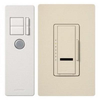 Lutron MIR-600T-LA Lutron MIR-600T-LA Maestro IR® Single Pole Tap On/Off Dimmer Switch with IR Remote Control; 120 Volt AC, 600 Watt, Incandescent/Halogen, Light Almond