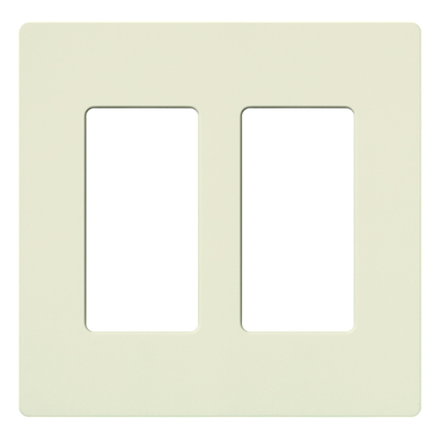 Lutron SC-2-BI Lutron SC-2-BI Designer Satin Colors® 2-Gang Screwless Decorator Wallplate; Wall Mount, Plastic, Biscuit