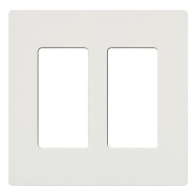 Lutron SC-2-SW Lutron SC-2-SW Designer Satin Colors® 2-Gang Screwless Decorator Wallplate; Wall Mount, Plastic, Snow White