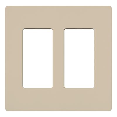 Lutron SC-2-TP Lutron SC-2-TP Designer Satin Colors® 2-Gang Screwless Decorator Wallplate; Wall Mount, Plastic, Taupe