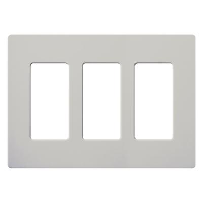 Lutron SC-3-PD Lutron SC-3-PD Designer Satin Colors® 3-Gang Screwless Decorator Wallplate; Wall Mount, Plastic, Palladium
