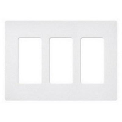 Lutron SC-3-SW Lutron SC-3-SW Designer Satin Colors® 3-Gang Screwless Decorator Wallplate; Wall Mount, Plastic, Snow