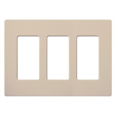 Lutron SC-3-TP Lutron SC-3-TP Designer Satin Colors® Screwless Decorator 3-Gang Wallplate; Wall Mount, Plastic, Taupe
