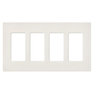 Lutron SC-4-BI Lutron SC-4-BI Designer Satin Colors® 4-Gang Screwless Decorator Wallplate; Wall Mount, Plastic, Biscuit