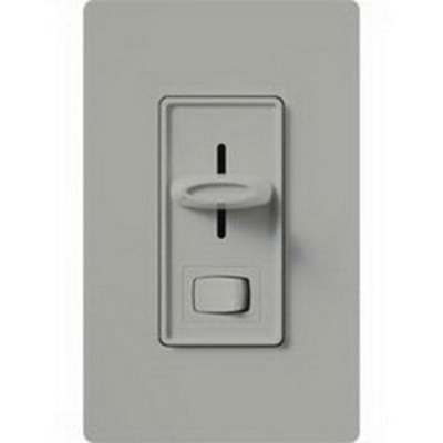 Lutron SELV-300P-GR Lutron SELV-300P-GR Skylark® Electronic Low Voltage Preset Slide Dimmer With Rocker On/Off Switch; 120 Volt AC, Gray Color Gloss Finish, Wall Box Mount