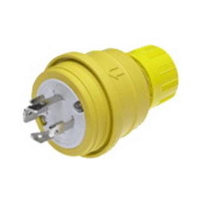Molex / Woodhead Connector 26W76 Woodhead / Molex 26W76 Watertite® Polarized Grounding Locking Male Plug with Locking Blade; 20 Amp, 480 Volt, 3-Pole, 4-Wire, NEMA L16-20, Yellow