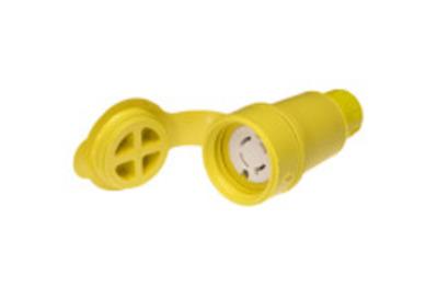 Molex / Woodhead Connector 27W76 Woodhead / Molex 27W76 Watertite® Polarized Female Locking Blade Connector; 20 Amp, 480 Volt AC, 3-Pole, 4-Wire, NEMA L16-20R, Yellow