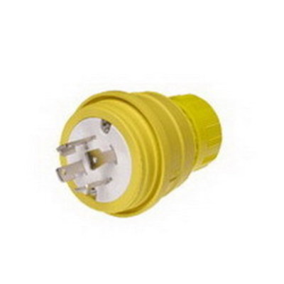 Molex / Woodhead Connector 28W75 Woodhead / Molex 28W75 Watertite® Polarized Grounding Locking Male Plug with Locking Blade; 30 Amp, 250 Volt, 3-Pole, 4-Wire, NEMA L15-30, Yellow