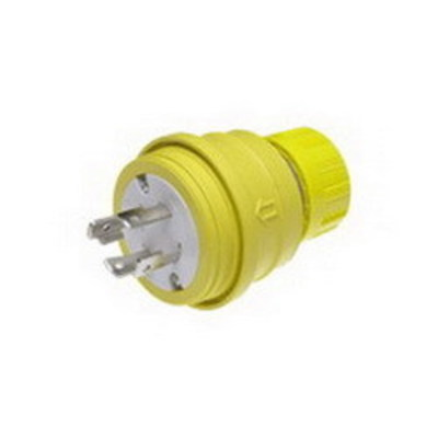 Molex / Woodhead Connector 28W76 Woodhead / Molex 28W76 Watertite® Grounding Twist Locking Male Plug with Locking Blade; 30 Amp, 480 Volt, 3-Pole, 4-Wire, NEMA L16-30, Yellow