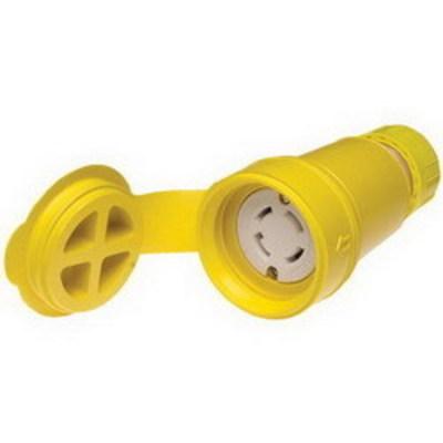 Molex / Woodhead Connector 29W76 Woodhead / Molex 29W76 Watertite® Polarized Female Locking Blade Connector; 30 Amp, 480 Volt AC, 3-Pole, 4-Wire, NEMA L16-30R, Yellow