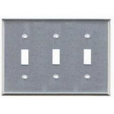 Mulberry 97073 Mulberry 97073 3-Gang Standard-Size Toggle Switch Wallplate; Device Mount, Stainless Steel, Silver