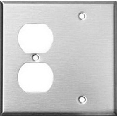 Mulberry 97542 Mulberry 97542 2-Gang Standard-Size Combination Wallplate; Box Mount, Stainless Steel, Silver