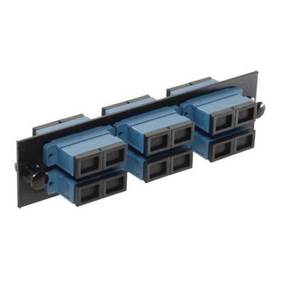 Multilink 10-1817 Multi-Link 10-1817 SC/UPC Loaded Fiber Adapter Panel; Singlemode, 6 Duplex Fibers, Blue/Black, 6/Pack