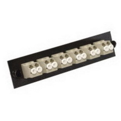 Multilink 10-3626 Multi-Link 10-3626 LC Loaded Fiber Adapter Panel; Multimode, 6 Duplex Fibers, Beige/Black, 6/Pack