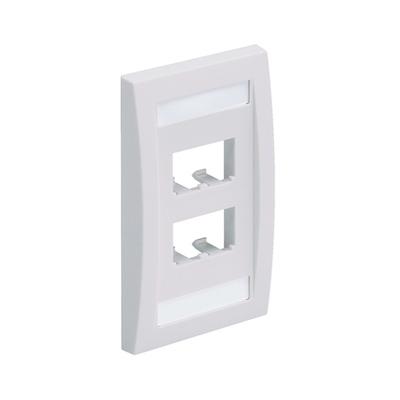 Panduit CFPE4WHY Panduit CFPE4WHY Mini-Com® 1-Gang Flat Faceplate; (4) UTP, STP, Fiber-Optic, A/V Port, ABS, White