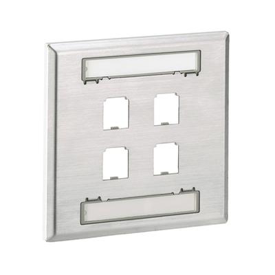Panduit CFPL4S-2GY Panduit CFPL4S-2GY Mini-Com® 2-Gang Faceplate; Screw, (4) UTP, STP, Fiber-Optic, A/V Port, Stainless Steel