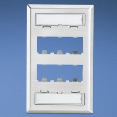 Panduit CFPL6SY Panduit CFPL6SY Mini-Com® 1-Gang Faceplate; (6) UTP, STP, Fiber-Optic, A/V Port, Stainless Steel