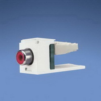 Panduit CJRREI Panduit CJRREI Mini-Com® Straight RCA Punchdown Connector Module; Electric Ivory/Red