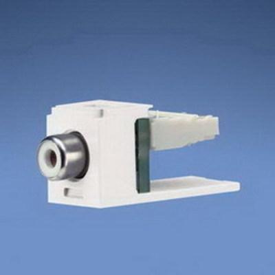 Panduit CJRWEI Panduit CJRWEI Mini-Com® Straight RCA Punchdown Connector Module; Electric Ivory/White