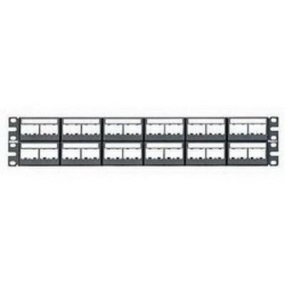 Panduit CPPL48WBLY Panduit CPPL48WBLY Mini-Com Flat Modular Patch Panel; Rack Mount, 48-Port, 2-Rack Unit, Black