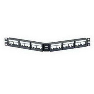 Panduit CPPLA24WBLY Panduit CPPLA24WBLY Mini-Com Angled Modular Patch Panel; 24-Port, 1-Rack Unit, Black