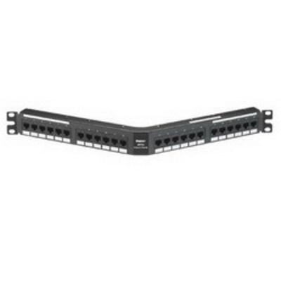 Panduit DPA245E88TGY Panduit DPA245E88TGY Category 5e Angled Patch Panel; 24-Port, 1-Rack Unit, Black