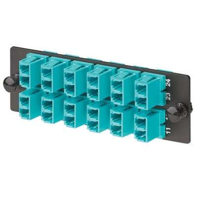 Panduit FAP12WAQDLC Panduit FAP12WAQDLC Opticom™ Fiber Optic Loaded Adapter Panel; LC Connection, 12-Port, 12 Duplex-Fiber, OM3/OM4 Multimode, Phosphor Bronze Split Sleeve, Black, Aqua Adapter