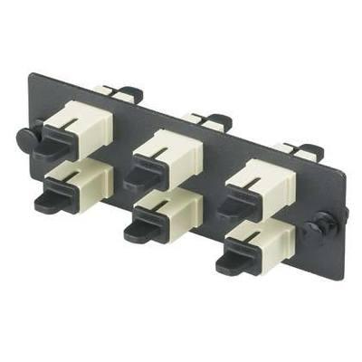 Panduit FAP6WEIDSC Panduit FAP6WEIDSC Opticom® SC Fiber Adapter Panel; Rack/Wall Mount, Multimode, 6 Duplex Fibers, Electric Ivory/Black