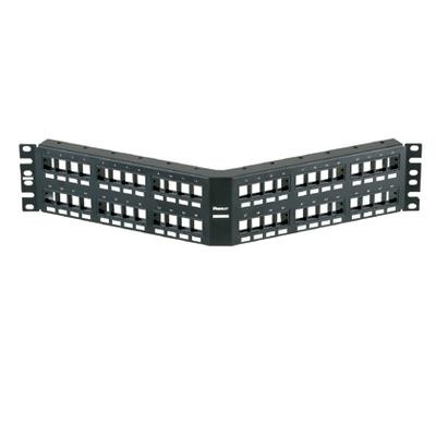 Panduit NKPPA48FMY Panduit NKPPA48FMY NetKey® Angled Modular Patch Panel; 48-Port, 2-Rack Unit, Black
