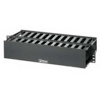 Panduit WMP1E Panduit WMP1E PatchLink™ Front and Rear Horizontal Cable Manager; Panel Mount, 2-Rack Unit, ABS Plastic, Black, Powder-Coated