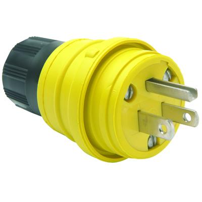 Pass & Seymour Inc 14W47 Pass & Seymour 14W-47 Watertight Plug; 15 Amp, 125 Volt, 2-Pole, 3-Wire, NEMA 5-15P, Yellow