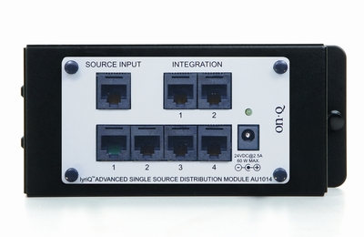 Pass & Seymour Inc AU1014 On-Q AU1014 Single Bay Rectangular lyriQ Advanced Single Source Distribution Module; 12 Volt DC, 2.5 Amp, Category 5 Cable, RJ45 Male, 4-Port, Gray