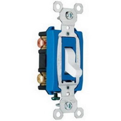 Pass & Seymour Inc CS15AC3W Pass & Seymour CS15AC3-W Heavy Duty Grade 3-Way Toggle Switch; 3-Pole, 120/277 Volt AC, 15 Amp, White