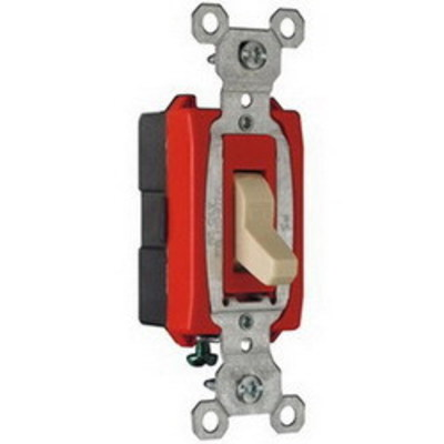 Pass & Seymour Inc CS20AC1I Pass & Seymour CS20AC1-I Heavy Duty Grade 3-Way Toggle Switch; 1-Pole, 120/277 Volt AC, 20 Amp, Ivory