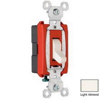 Pass & Seymour Inc CS20AC1LA Pass & Seymour CS20AC1-LA Heavy Duty Grade 3-Way Toggle Switch; 1-Pole, 120/277 Volt AC, 20 Amp, Light Almond
