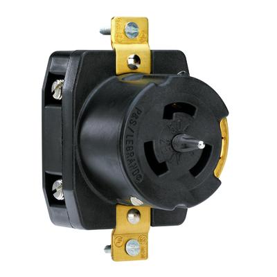 Pass & Seymour Inc CS8369 Pass & Seymour CS8369 Turnlok® California-Style Standard Locking Receptacle; Flush Mount, 250 Volt AC, 50 Amp, 3-Pole, 4-Wire, 4-Watt Black